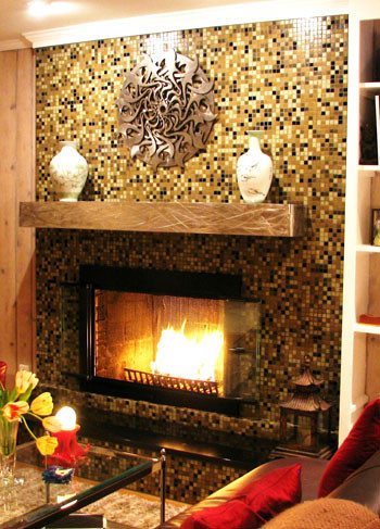 Glass Mosaic Tile Fireplace Surround - Eclectic - Living Room - Houston - by Haleigh Stallworth