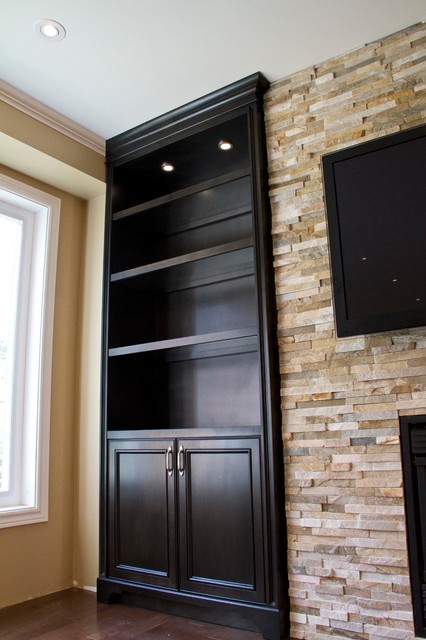 Superior Glass Shelves Built In Units Around Fireplace Traditional Living Room