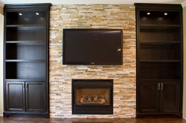 Glass Shelves Built in Units Around Fireplace