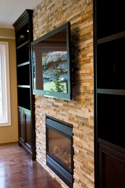 Glass Shelves Built-in Units Around Fireplace - Traditional ...