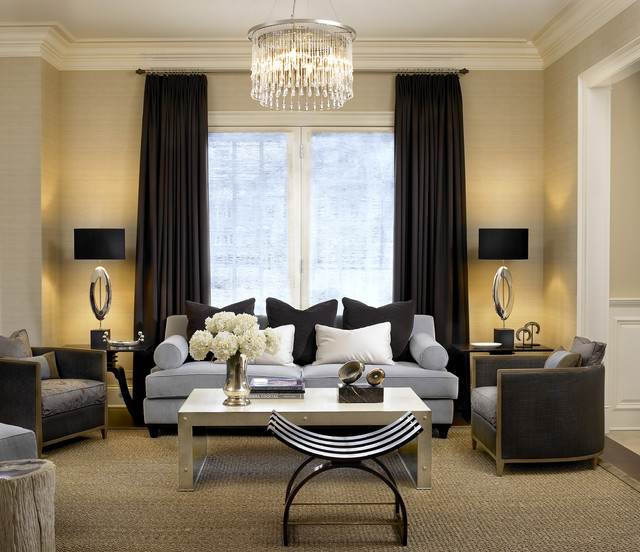 black and tan living room. Contemporary formal living room idea in Chicago with beige walls Black And Tan  Houzz
