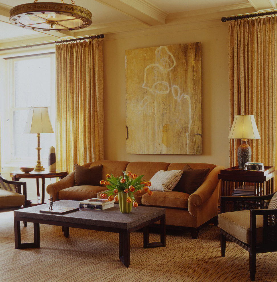 Example of a trendy living room design in New York with beige walls