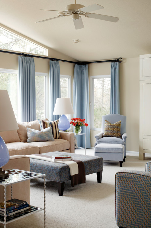 Interior styles and design blue rooms a calming color for Modern living room curtain designs pictures