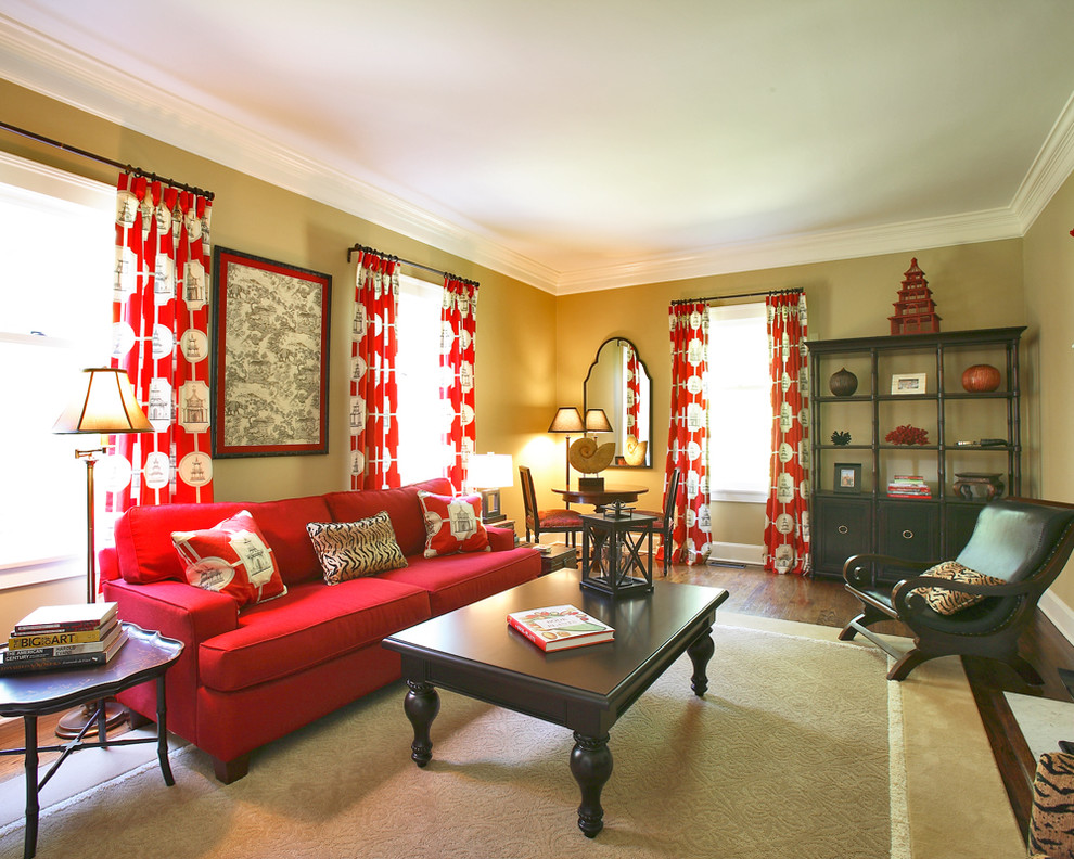Example of an asian living room design in Other