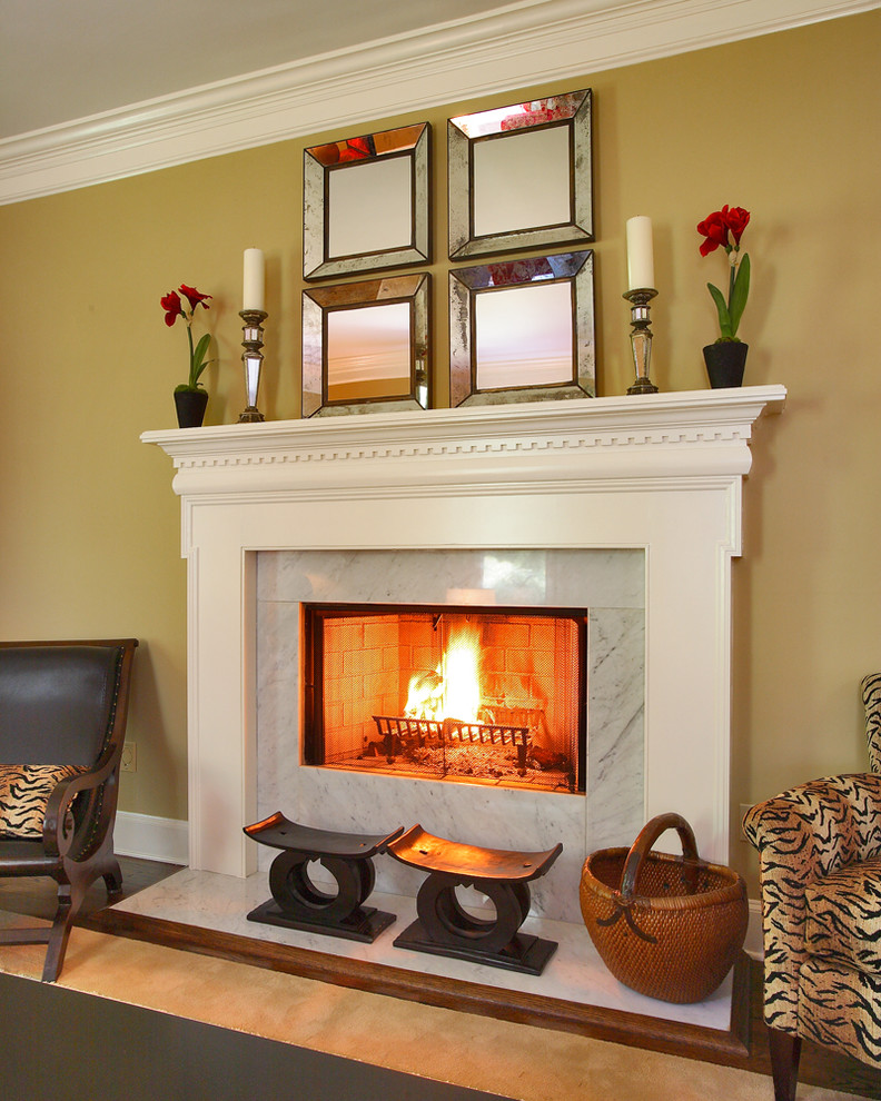 Elegant living room photo in Other with a standard fireplace
