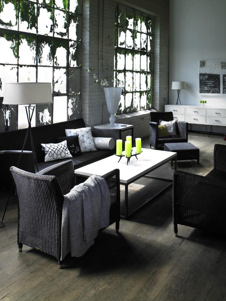 Living room - transitional dark wood floor living room idea in Atlanta