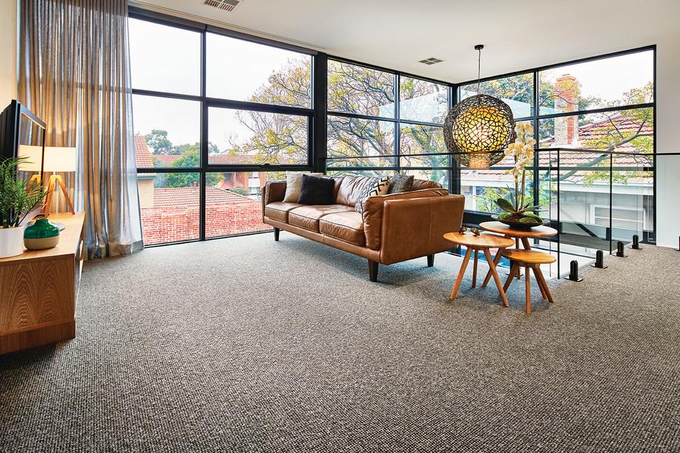 客廳米色地板磚北歐風格裝潢設計圖片