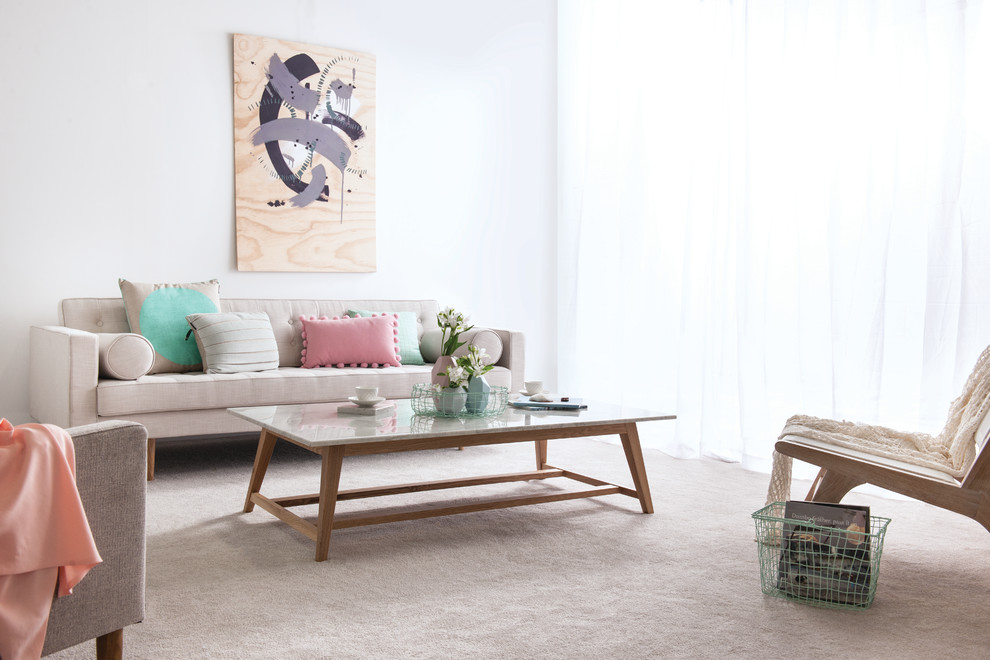Danish formal carpeted and gray floor living room photo in Geelong with white walls