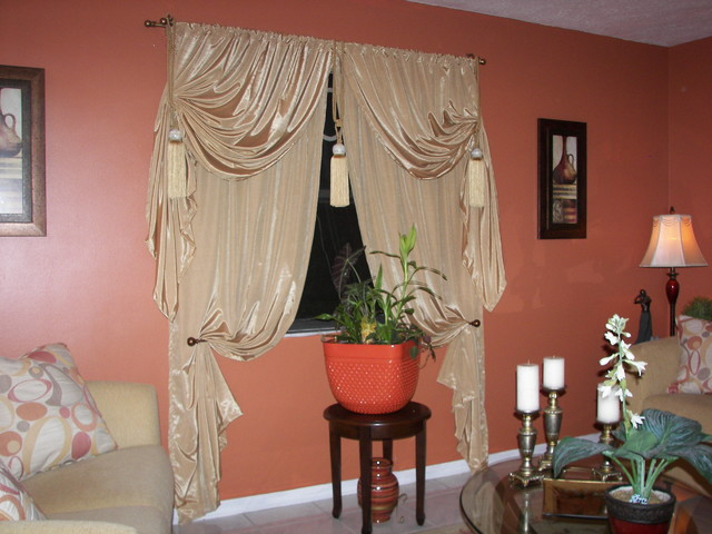 Gold Drapes Eclectic Living Room Miami