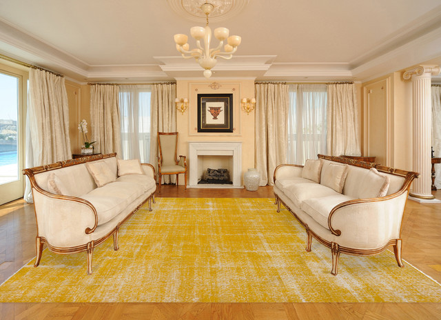 Gold yellow overdyed vintage rug contemporary living - Gold rug for living room ...