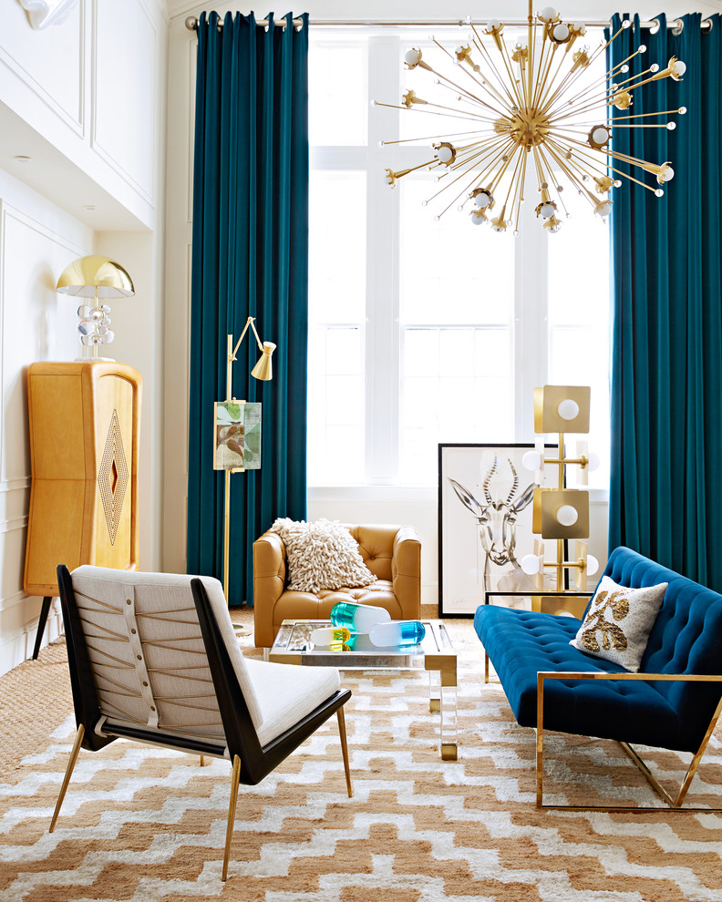 Inspiration for a contemporary carpeted living room remodel in New York with white walls, no fireplace and no tv