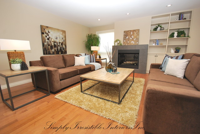 Gorgeous 2 Story Home With Ravine Backyard Contemporary Living Room Edm