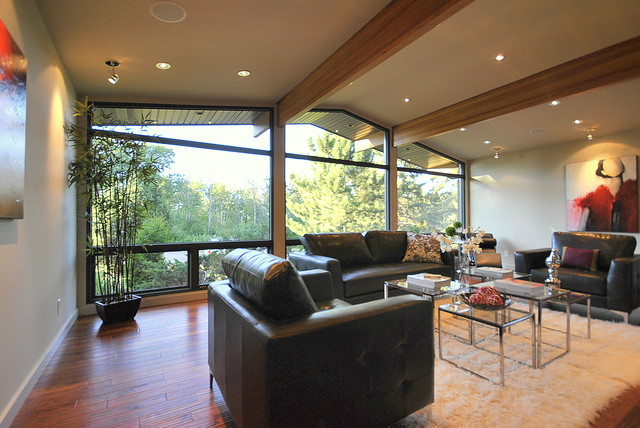 Gorgeous Living Room W Fireplace Hand Scraped Wood Floors And Huge Windows