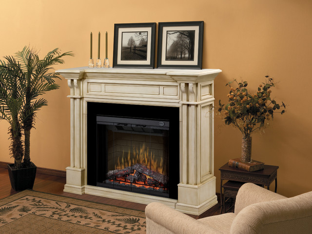 A traditional home design style can be completed with a carved column mantel similar to this one.