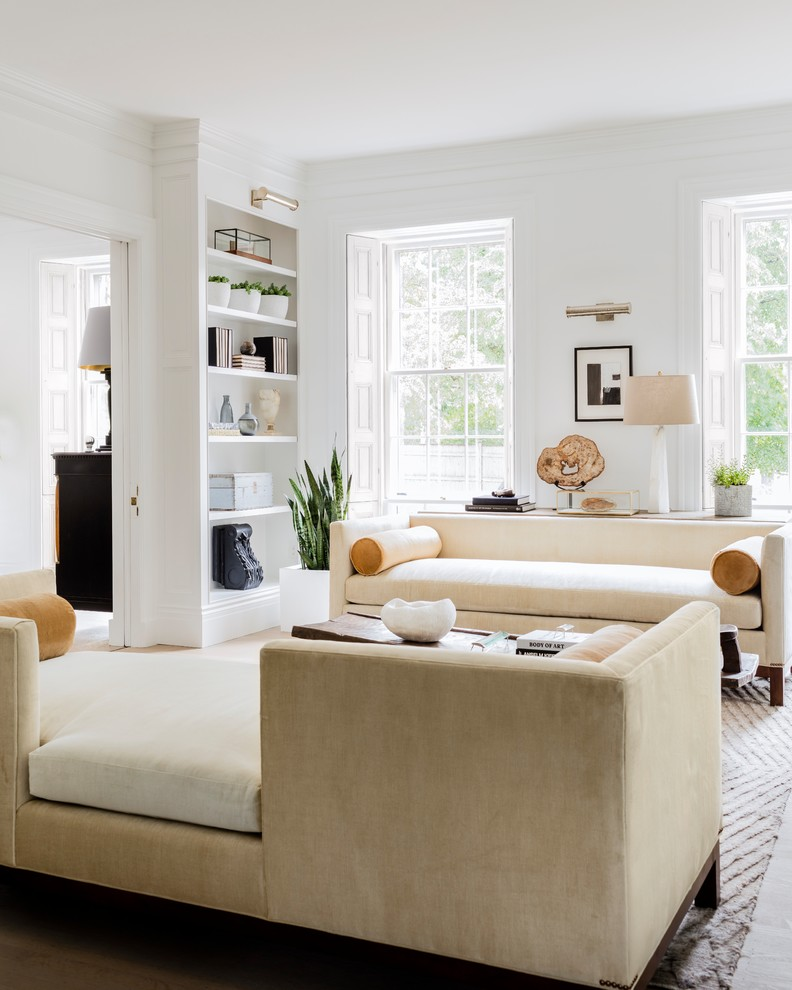 Living room - transitional open concept light wood floor and gray floor living room idea with white walls, a standard fireplace, a stone fireplace and no tv