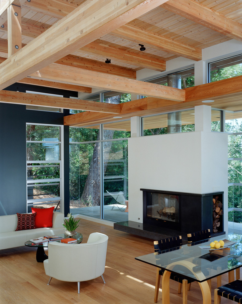 Example of a mid-sized minimalist open concept light wood floor living room design in San Francisco with blue walls and a standard fireplace