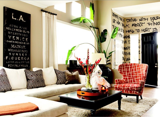 graffiti living room eclectic living room orange
