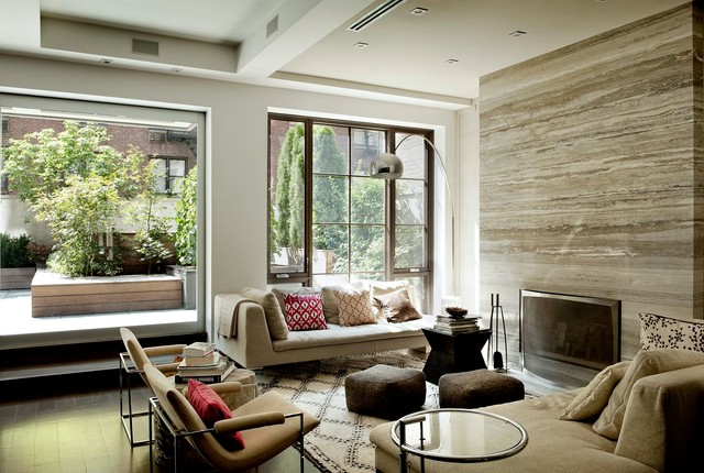 Contemporary Living Room Idea In New York With A Standard Fireplace Save Photo DHD Architecture And Interior Design