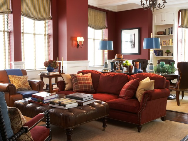 Elegant Living Room Photo In New York With Red Walls