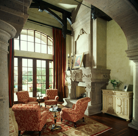 Fireplace in multi million dollar home designed by for Million dollar living rooms