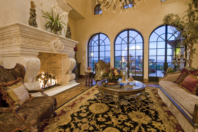 Inspiration For A Huge Mediterranean Formal And Open Concept Travertine  Floor Living Room Remodel In Phoenix