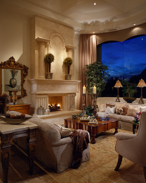Grand fireplaces mediterranean living room phoenix for Mediterranean living room