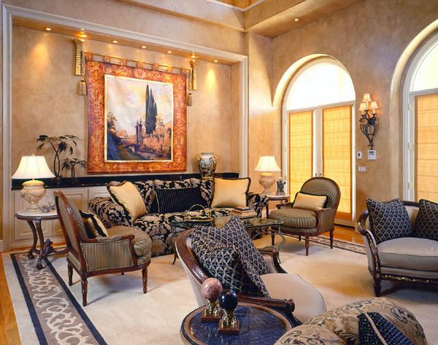 Grand Italian Inspired Estate traditional-living-room