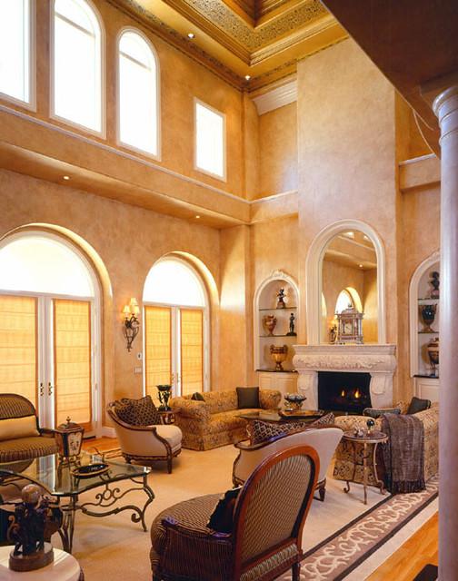 Grand Italian Inspired Estate mediterranean-living-room