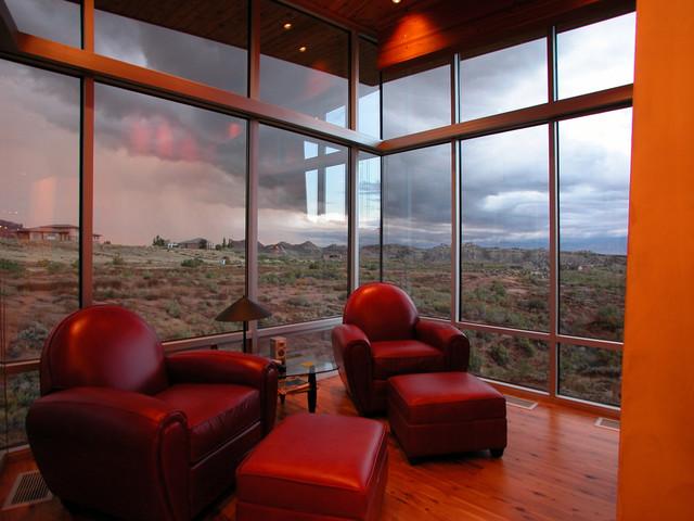 Living room - contemporary living room idea in Denver