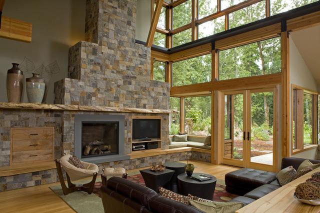 Grand Ridge Timberframe modern-living-room