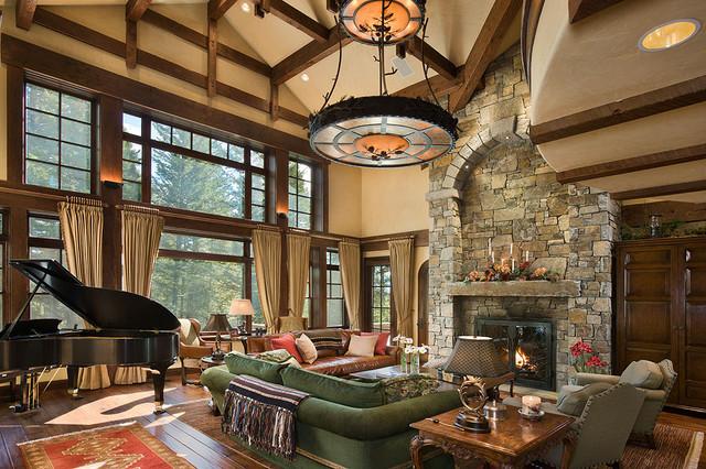 Granite Ridge Timber Frame Jackson Hole WY Traditional Living Room