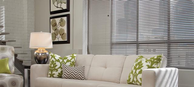 Gray Aluminum Blinds Metal Hunter Douglas Modern Living Room