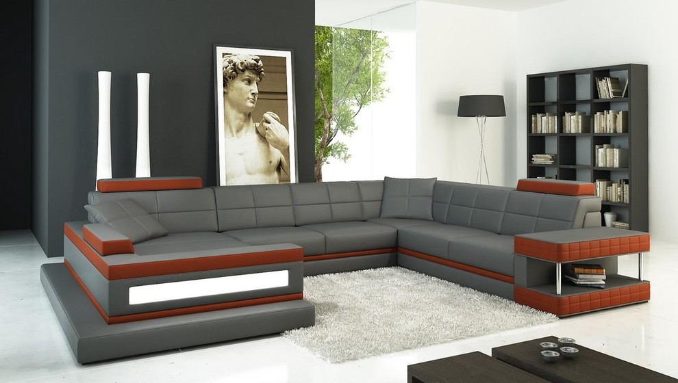 Gray and Dark Red Sectional Sofa with Chaise - Modern ...
