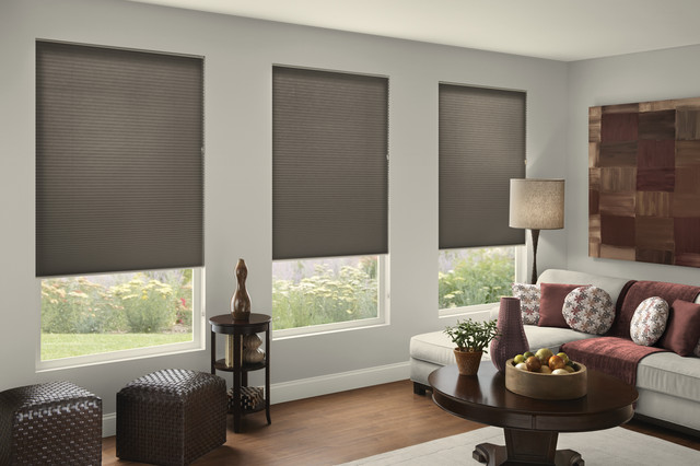 Gray doesn 39 t have to be drab contemporary living room burlington by for Contemporary window treatments for living room