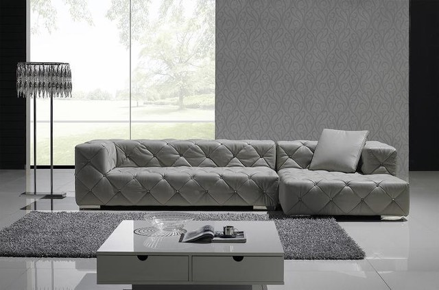 Gray Full Leather Sectional Sofa Set Modern Living