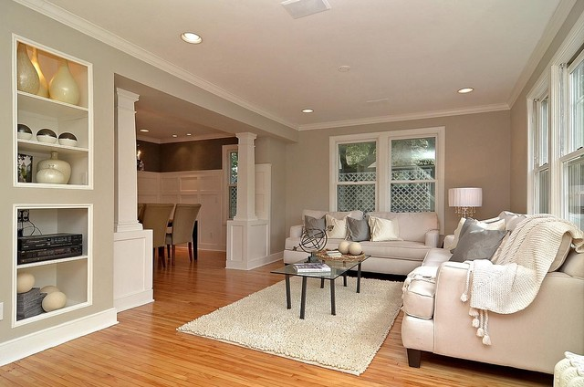 Gray Grey Living Room Looking Into Dining With Wainscot And Columns Traditional