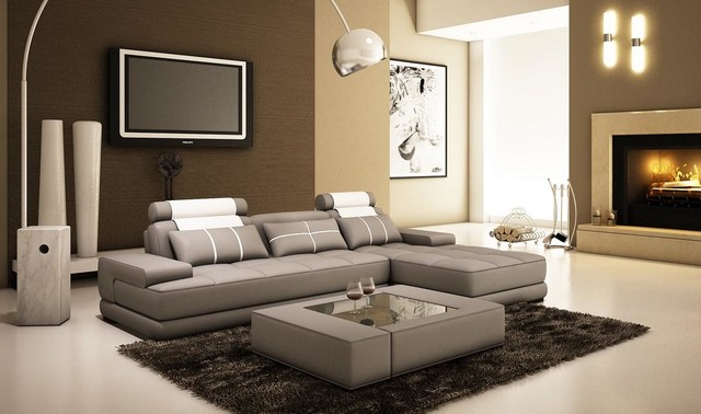 Gray Leather Sectional Sofa With A Coffee Table Modern