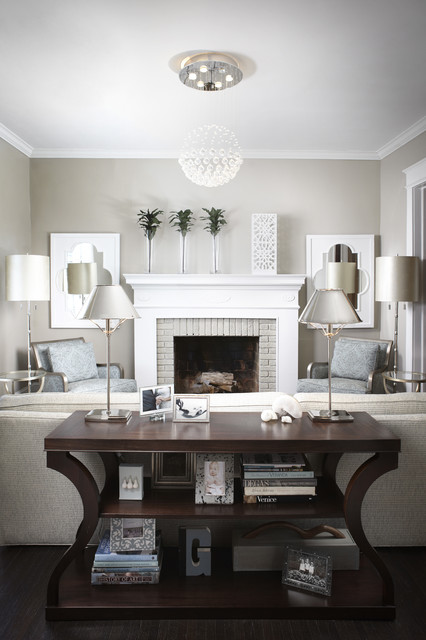Gray And White Transitional Rustic Living Room With: Transitional