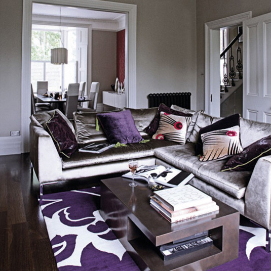 gray purple living rm eclectic living room - Purple Living Room