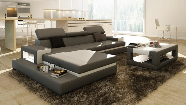 Gray sectional sofa with coffee table modern living - Gray modern living room furniture ...