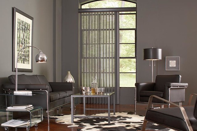 Gray vertical blinds lafayette interior fashions modern for Living room blinds