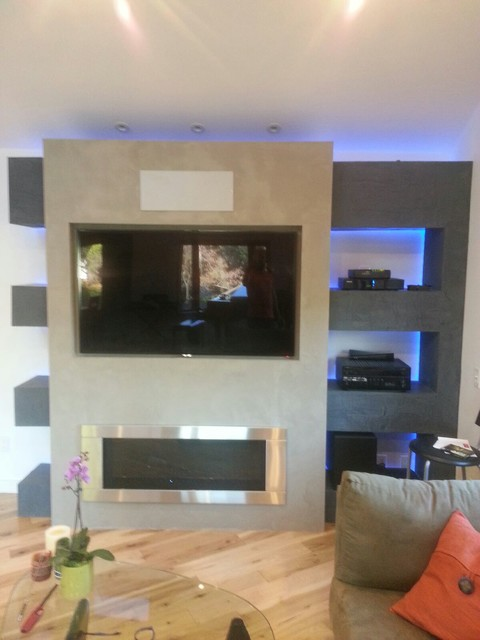 Great Oak Circle Entertainment Center Contemporary Living Room Los Angeles By Open Hand