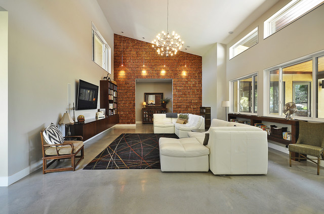 Great room modern living room austin by ecolution - Decor for high ceiling rooms ...