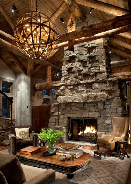 Living Room   Rustic Medium Tone Wood Floor Living Room Idea In Atlanta  With A Stone