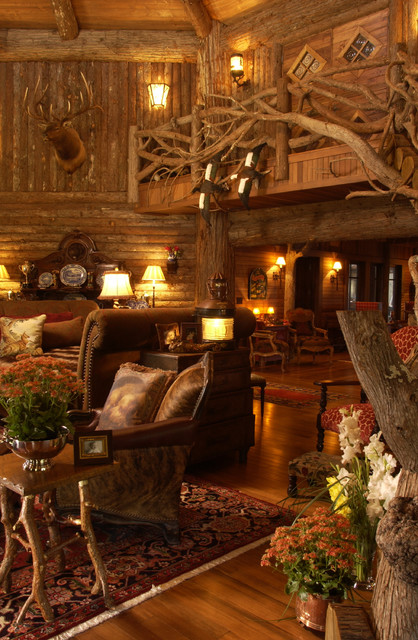 Great room rustic living room minneapolis by for Log home interior designs