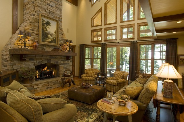 Great Room Rustic Living Room