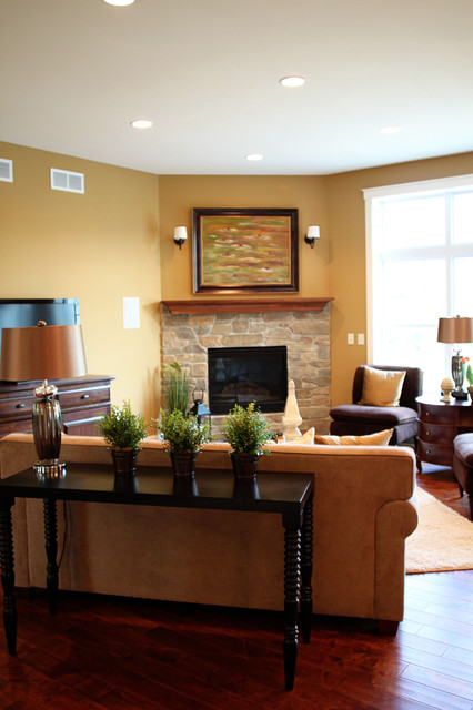 Great room traditional living room milwaukee by k for How to arrange living room furniture with fireplace and tv