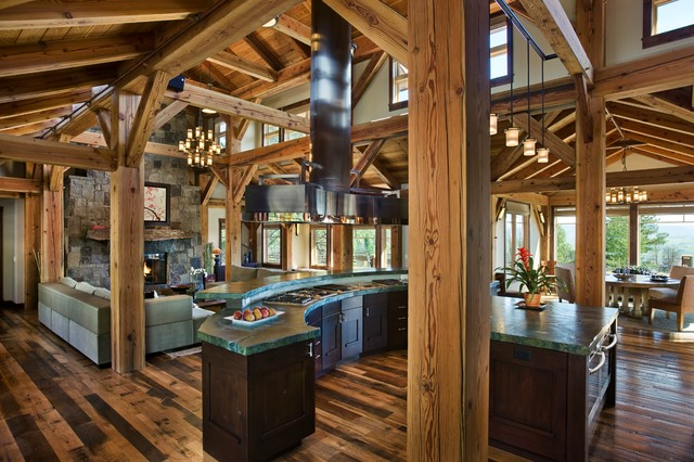 great room kitchen and dining areas open floor plan steamboat storm meadow dr rustic. Black Bedroom Furniture Sets. Home Design Ideas