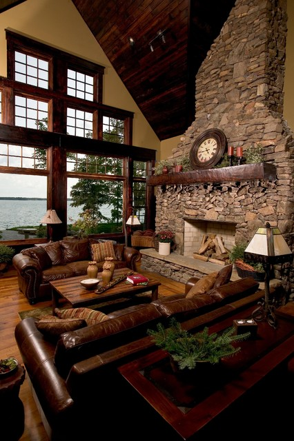 Great Room - Lower Whitefish Lake rustic-living-room