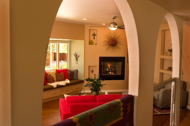 Great room open arches mediterranean living room for Arches designs in living room